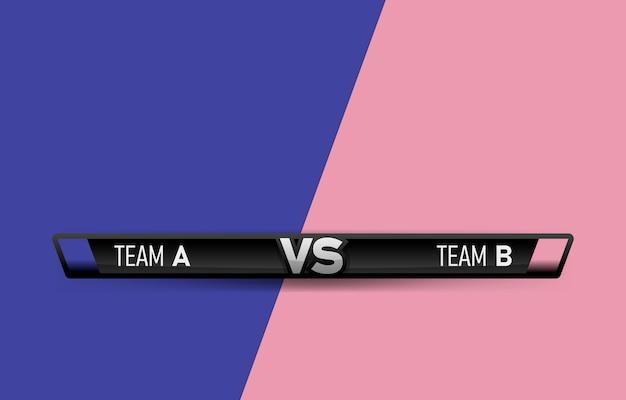 Wyzwanie pojedynek vs. w porównaniu z tablicą rywali, z miejscem na tekst