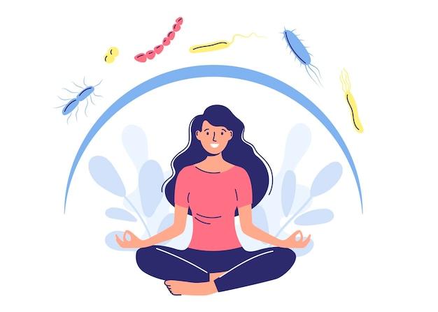 Wzmocnij swój układ odpornościowy. postacie z płaskim stylem kreskówek