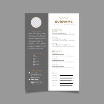 Wznów cv minimalistycznego szablonu projektu. wektor układu biznesowego dla aplikacji o pracę.