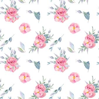 Wzór akwarela bukiety kwiatowe, pojedyncze kwiaty i gałęzie, ręcznie malowane