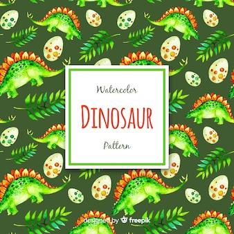 Wzór akwarela dinozaura