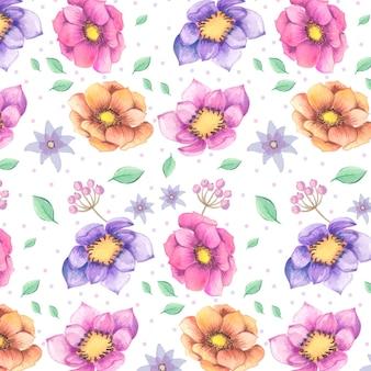 Wzór akwarela kolorowe kwiaty