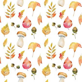 Wzór akwarela liści jesienią, liście miłorzębu japońskiego, gałęzie jarzębiny, żołędzie i białe grzyby