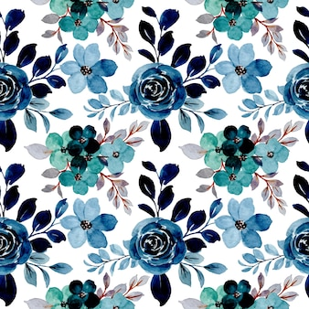Wzór akwarela niebieski zielony kwiatowy