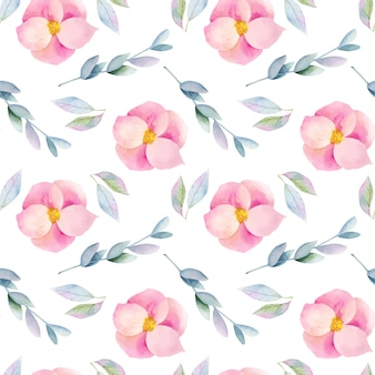 Wzór akwarela różowy wrzosiec kwiaty i gałęzie