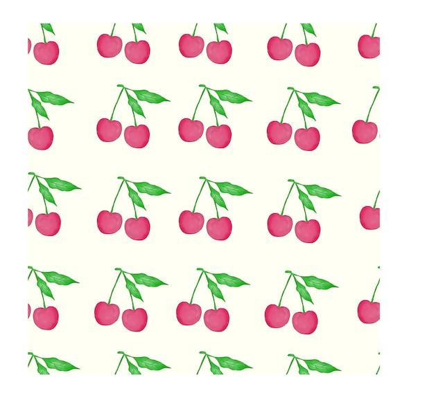 Wzór akwareli wiśni i liści