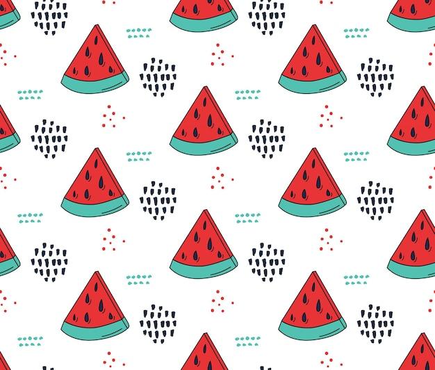 Wzór arbuza śliczna bezszwowa tekstura w stylu mody lat 80. czerwone i zielone tło arbuza