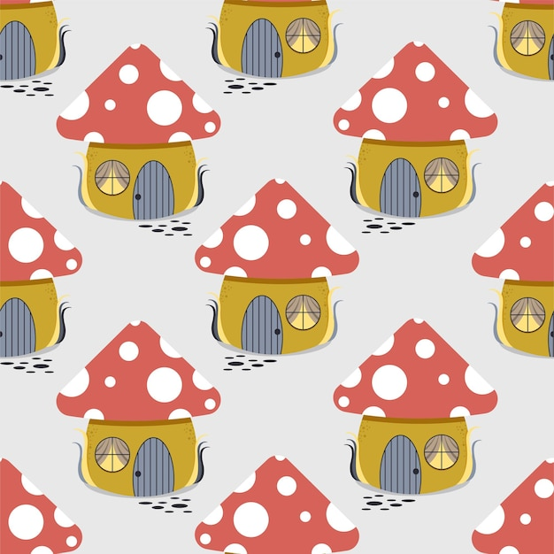 Wzór bajecznych grzybów w formie domku.