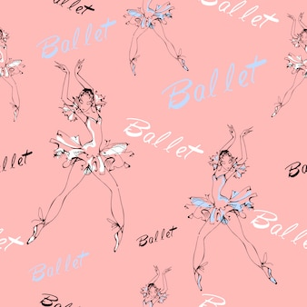 Wzór. balet. tańczące baleriny.