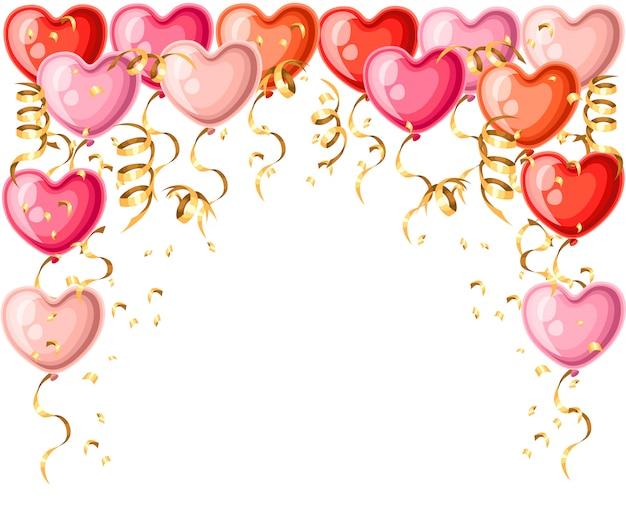 Wzór balonów w kształcie serca ze złotymi wstążkami różne kolory balonów ilustracja na białym tle strony internetowej i aplikacji mobilnej