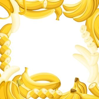 Wzór banana i plasterki bananów. ilustracja z pustym miejscem na dekoracyjny plakat, emblemat produkt naturalny, rynek rolników. strona internetowa i aplikacja mobilna