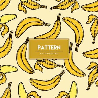 Wzór banana owoc ręcznie rysowane ilustracji