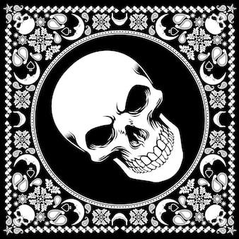 Wzór bandana z czaszki
