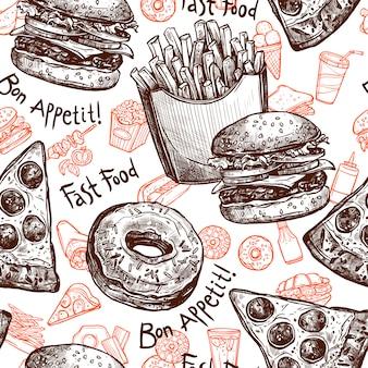 Wzór bez szwu fast food