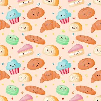 Wzór bez szwu kawaii słodki i deser na śmietanie