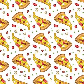 Wzór bez szwu pizzy w stylu płaskiej linii nowoczesny design
