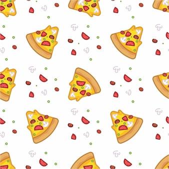 Wzór bez szwu pizzy w stylu płaskiej linii nowoczesny