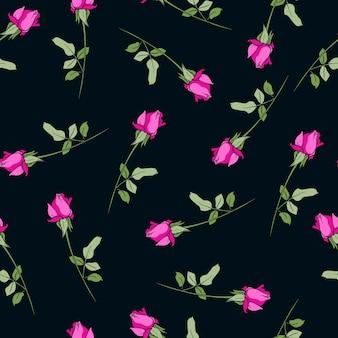 Wzór bez szwu różowe kwiaty róży czarne tło nadruk na tekstyliach piękny na ornament projekt tkaniny