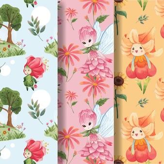Wzór bez szwu z ilustracja koncepcja akwarela kwiatowy charakter