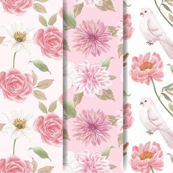 Wzór bez szwu z koncepcją kwiatów cottagecore, styl akwareli