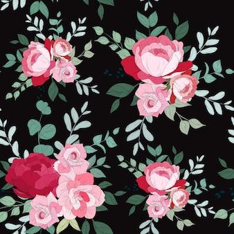 Wzór bez szwu z pięknym kwiatowym