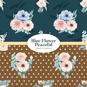 Wzór bez szwu z spokojną koncepcją niebieskiego kwiatu, styl akwareli