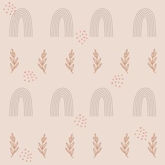 Wzór bez szwu z tęczami i kwiatowymi gałęziami