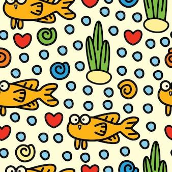 Wzór bezszwowe kreskówka ryb doodle