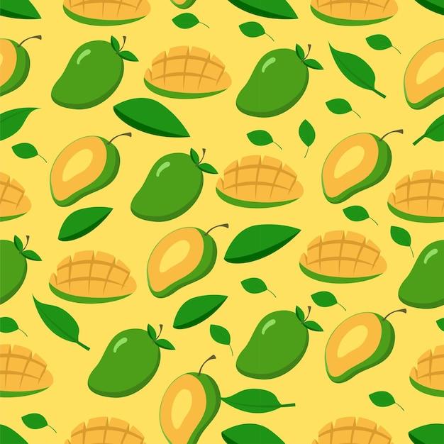 Wzór Bezszwowe Lato Owoce Plasterek Mango Premium Wektorów