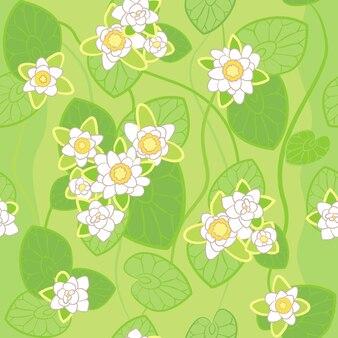 Wzór białego lotosu na tle zielonego bagna