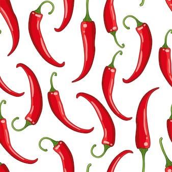 Wzór biały z papryczką chili