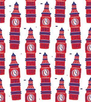 Wzór Big Bena W Stylu Płaskiej Konstrukcji Premium Wektorów