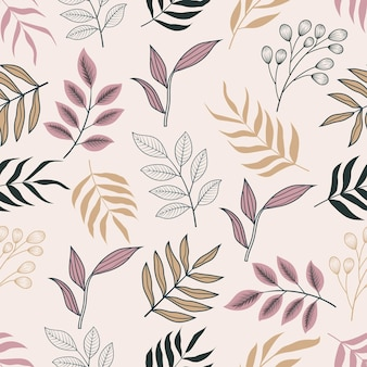 Wzór botanicznych kwiatów tropikalnych kwiatów i liści