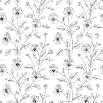 Wzór bratek kwiatowy ręcznie rysowane ilustracja z grafiką na białym tle.