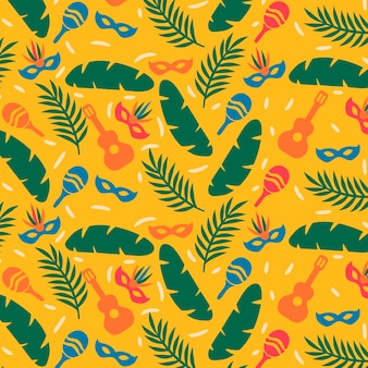 Wzór brazylijskiego karnawału w płaskiej konstrukcji