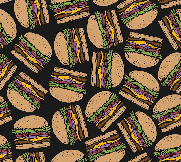 Wzór burgera w doodle vintage