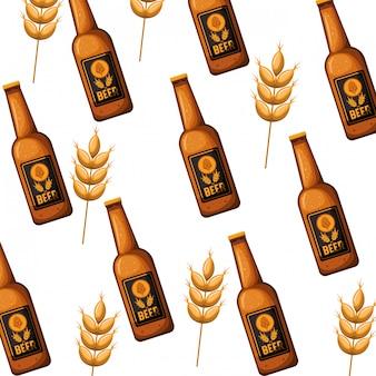 Wzór butelki piwa ikona na białym tle
