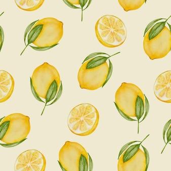 Wzór całej cytryny owoców cytrusowych żółty z zielonymi liśćmi