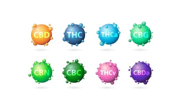 Wzór chemiczny liści marihuany, zbiór pierwiastków chemicznych 3d liści marihuany