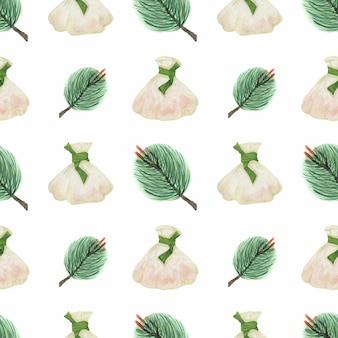 Wzór chińskich noworocznych pierogów i gałęzi sosny