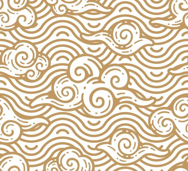 Wzór chmur z ornamentem morza w stylu konspektu doodle