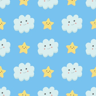 Wzór, chmury i gwiazdy na niebiesko.