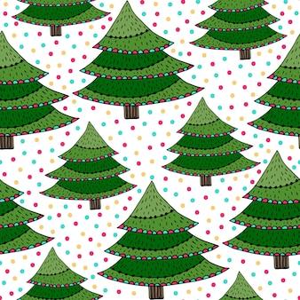 Wzór choinki. zielona wektorowa opakunkowa tekstura z nowy rok drzewami. jasne tło do dekoracji wakacje