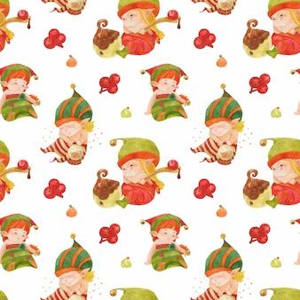 Wzór christmas elves story, małe elfy ze słodyczami i kryształowa kula na białym