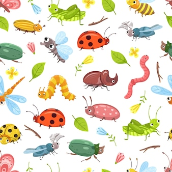 Wzór chrząszcza. błędy na białym tle, ważka biedronka, projektowanie tekstyliów dla dzieci. tło ładny dzikich owadów. kwiatowy las wektor bezszwowa tekstura. biedronka i ważka, owad i chrząszcz ilustracja