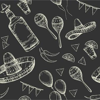 Wzór cinco de mayo z doodle ręcznie rysowane symbole meksykańskie - papryczka chili, marakasy, sombrero, nachos, tequila, balony, girlanda flagi. naszkicować.