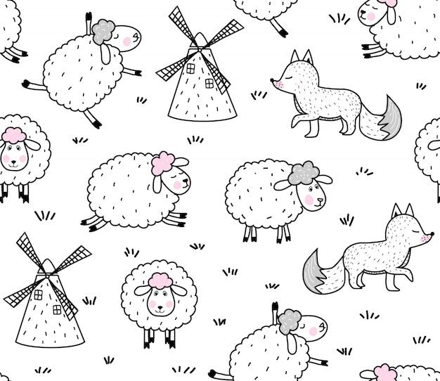 Wzór cute baby owiec