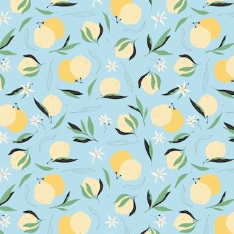 Wzór cytryny bez szwu. modne żółte cytryny na niebieskim tle. nowoczesne ręcznie rysowane ilustracja dla karty z pozdrowieniami, tapety i papier pakowy. soczyste lato owoców tła.