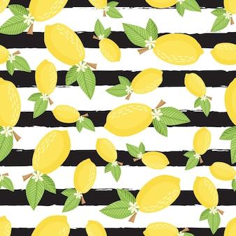 Wzór cytryny bezszwowe tło dekoracyjne z żółtymi cytrynami