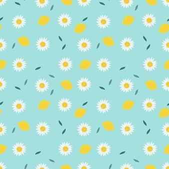 Wzór cytryny i słodki biały kwiat.